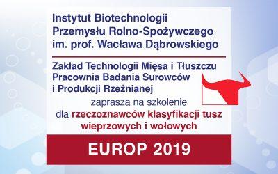 Szkolenie dla rzeczoznawców klasyfikacji tusz wieprzowych i wołowych EUROP 2019