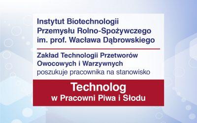 Technolog w Pracowni Piwa i Słodu