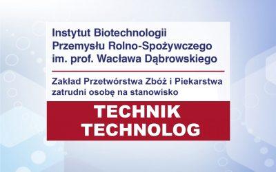 Technik / Technolog w Zakładzie Przetwórstwa Zbóż i Piekarstwa
