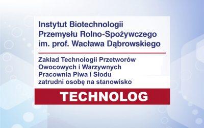 Technolog w Pracowni Piwa i Słodu ZO